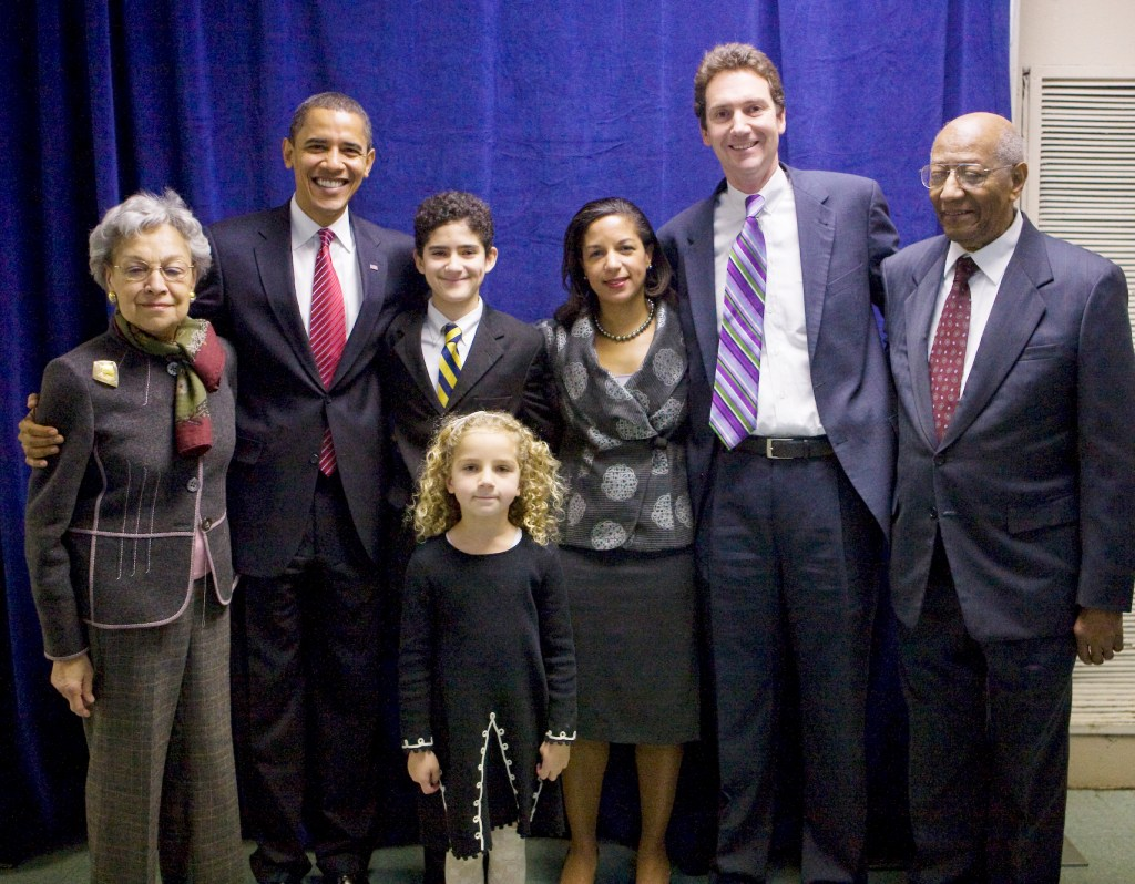 President-elect Barack Obama poses with Susan Rice and her family after nominating her to be U.S. Representative to the United Nations at a Chicago news conference. Left to right are Rice's mother, Lois Dickson Rice; Obama; Rice's son, Jake Rice-Cameron; Rice's daughter, Maris Rice-Cameron; Rice; Rice's husband, Ian Cameron; and Rice's father, Emmett J. Rice.