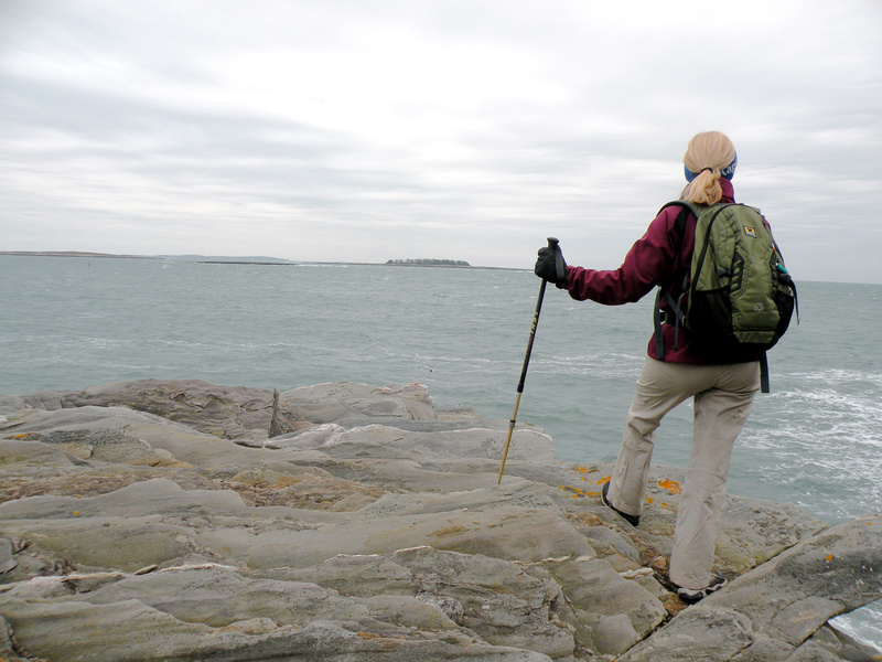 A hiker takes in the view at Leighton Head in La Verna Preserve.