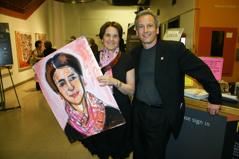 Trustee Mary Schendel, with a portrait created by Martha Miller, and Vice President of Advancement Tim Kane.