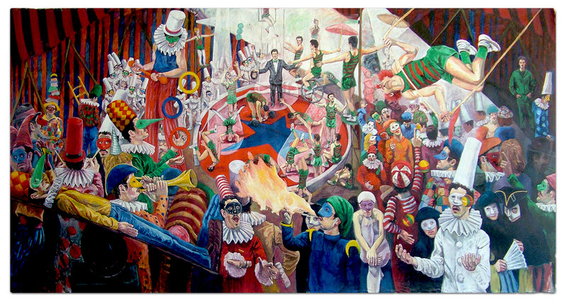 """Carlo Pittore's 8- by 17-foot """"La Buffonera,"""" 1983, is the centerpiece of """"Carlo Pittore @ the Constellation Gallery."""""""