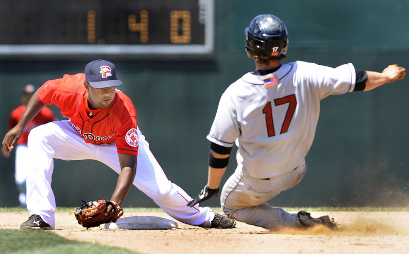 Joe Benson had a rough day on the bases for New Britain, this time being tagged out by Portland's Yamaico Navarro on a steal attempt in the fifth inning Monday at Hadlock Field.