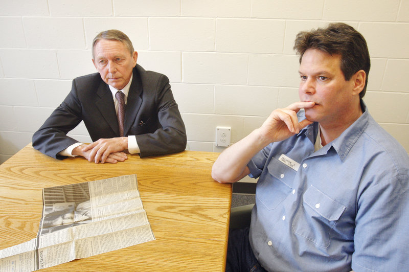 Dennis Dechaine listens to questions from a reporter during an interview at the Maine State Prison in Warren on March 22.