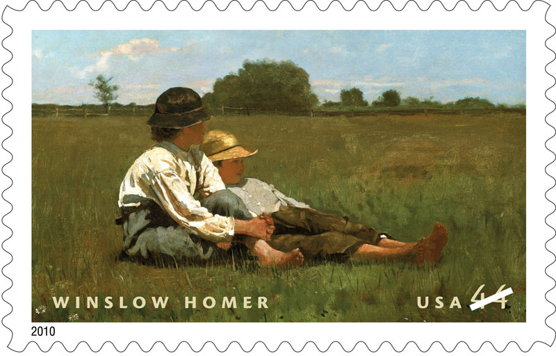 "This undated handout image provided by the US Postal Service shows the postage stamp honoring American painter Winslow Homer, featuring his 1874 oil-on-canvas painting ""Boys in a Pasture."""