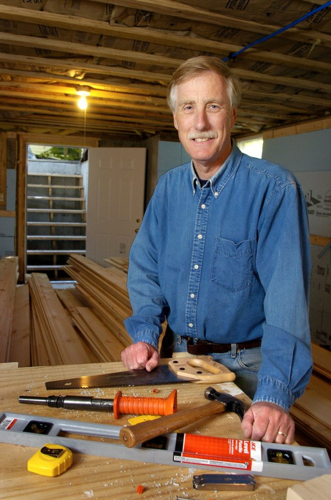 """""""My dream was always that there was some kid up in Madison who has this ability, but would never get to express it unless somebody put a tool in his hand,"""" said former Gov. Angus King, seen here with the more traditional sort of tools."""