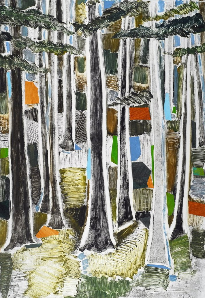 """Robin Brooks' """"Woods Variation #2,"""" monotype with chine colle"""