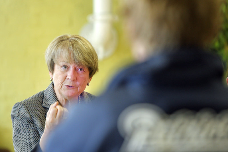 Democratic gubernatorial candidate Libby Mitchell answers a question during a forum at the Preble Street Resource Center in Portland on Tuesday.