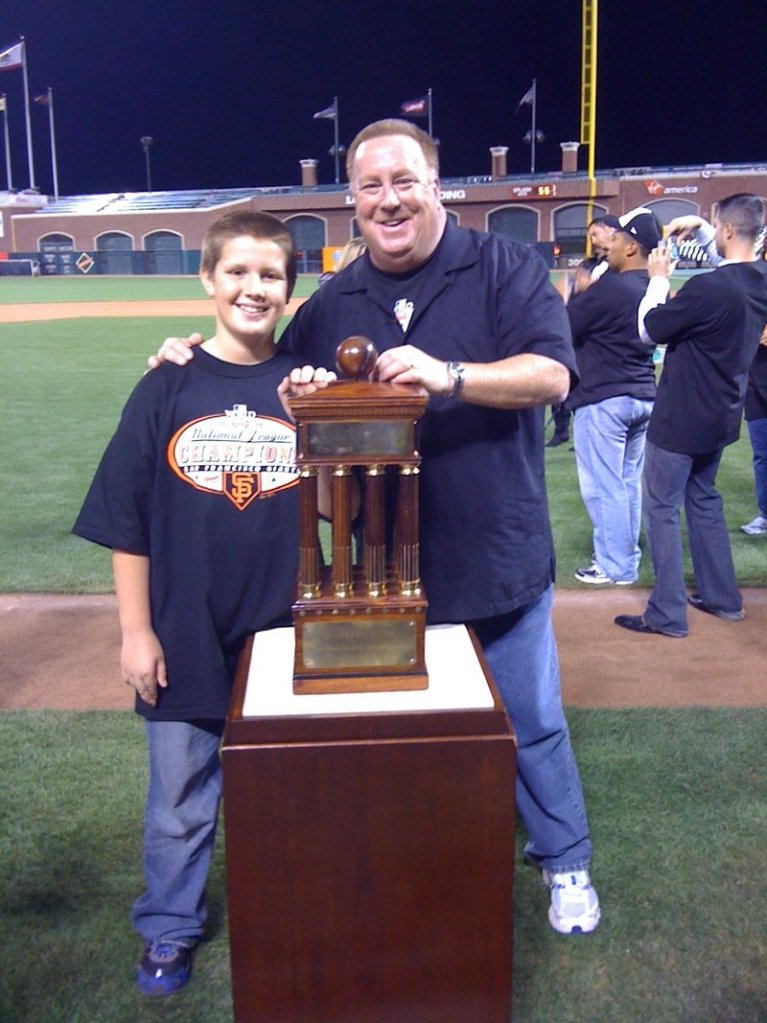 Ken Joyce of Portland, the Giants' Triple-A hitting instructor, and his 11-year-old son, Tommy, were able to attend the World Series in San Francisco.