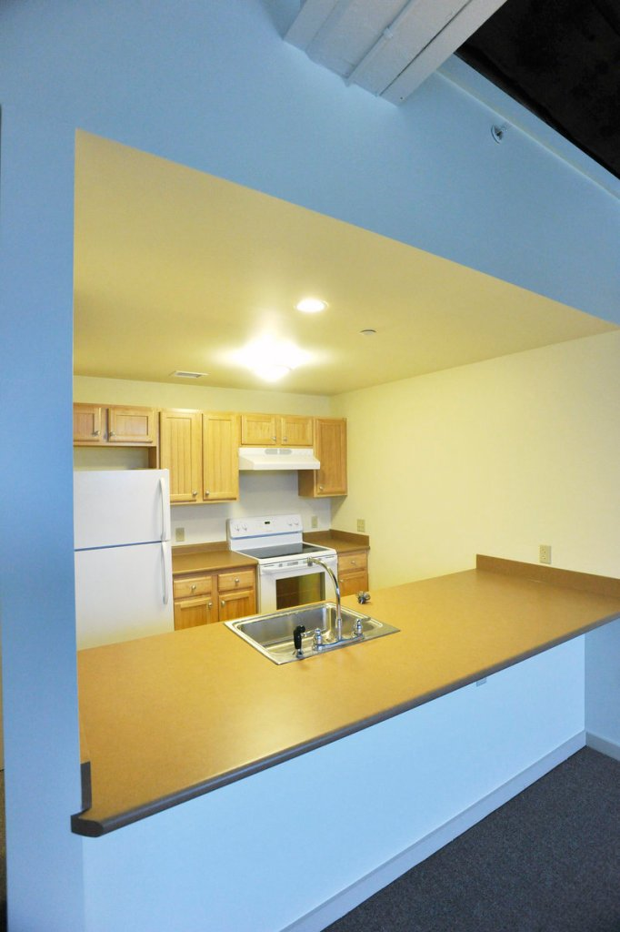 A kitchen in one of the complex s one-bedroom apartments.