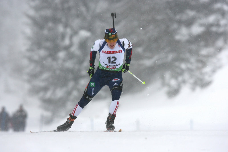Russell Currier, a graduate of Caribou High, can ski with the best on the biathlon tour but needs to improve his marksmanship.