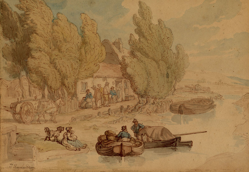"""British artist Thomas Rowlandson's """"Norfolk Broads,"""" circa 1795, watercolor, graphite and ink, from the Portland Museum of Art's """"European Drawings,"""" opening in March."""