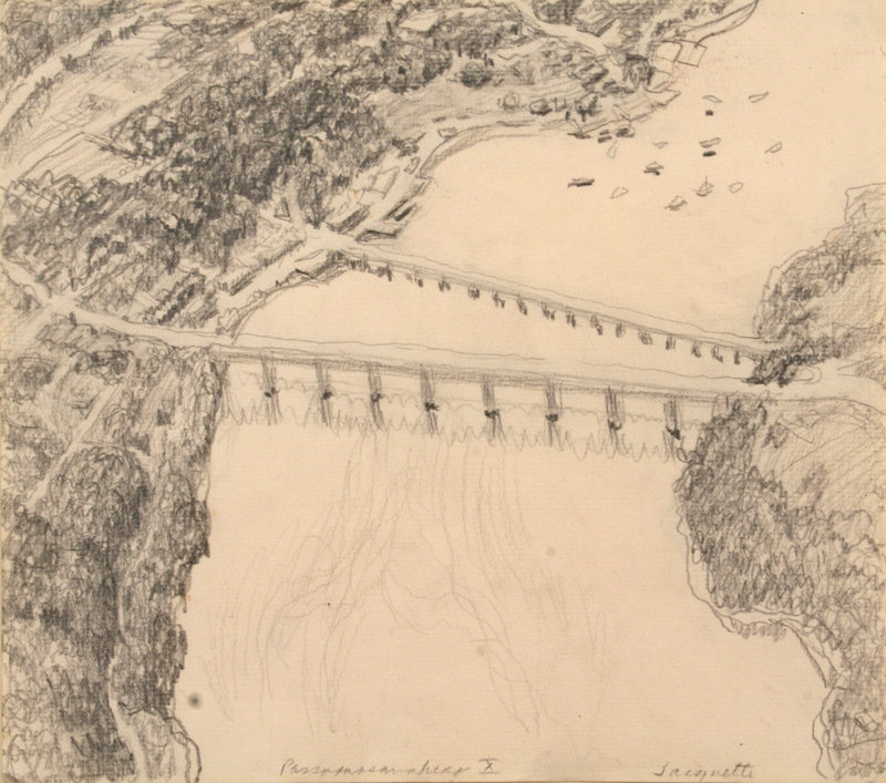 """Yvonne Jacquette's 1971 graphite on paper, """"Passagassawkeag,"""" at the Farnsworth Art Museum in Rockland (opens Jan. 22)."""