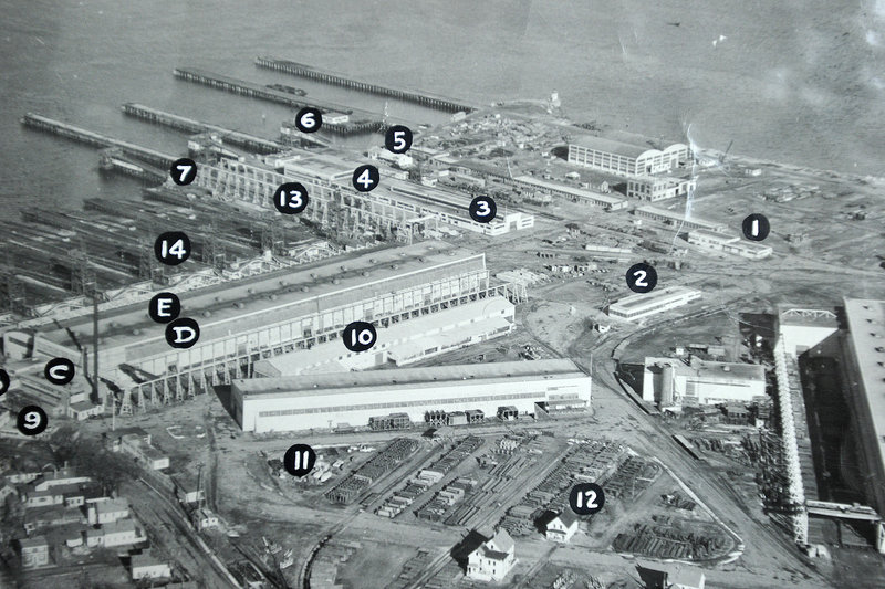 """This archival aerial view, taken in the early 1940s, shows the breadth of the New England Shipbuilding Corp. property when it was building Liberty ships in South Portland. The building marked """"No. 10"""" is the structure currently being demolished."""