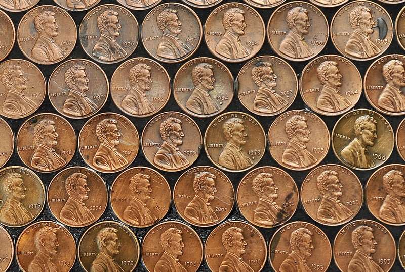 Edwards painstakingly placed and glued down thousands of pennies, all facing up and with Abraham Lincoln facing the same direction.