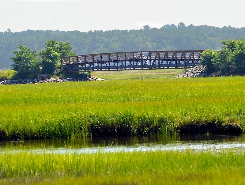 "This bridge, seen in 2011, takes the Eastern Trail over the Scarborough Marsh, but a 1.6-mile gap remains. The ""Close the Gap"" campaign has raised $3.27 million of $3.8 million it needs."