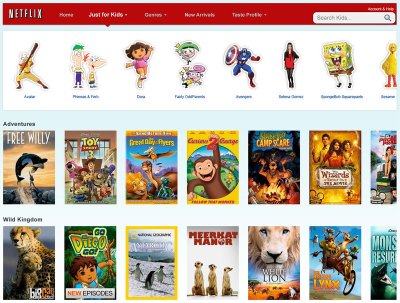 """Clicking on the new """"Just for Kids"""" tab will pull up a selection of kid-friendly TV shows and movies."""
