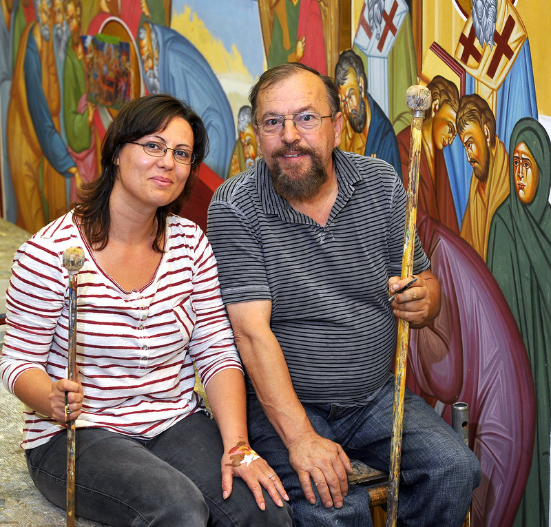 George S. Papastamatiou creates and restores icons with his wife, Brunilda Rizaj-Papastamatiou. The current project in Portland was funded by a church member.