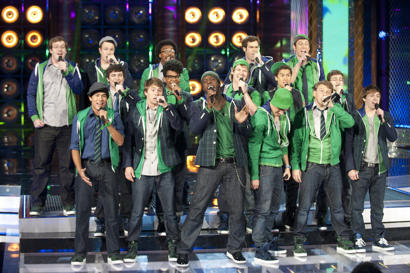 """Michael Odokara-Okigbo of Portland performs on NBC's ''The Sing-Off"""" Monday night with The Dartmouth Aires."""