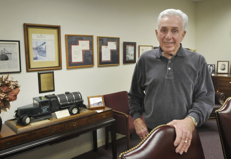 """Marshall """"Jack"""" Gibson, a philanthropist who visits cancer patients at Maine Medical Center and works as a commercial real estate developer, spends time Monday at his office in South Portland. """"I have a fairly good sense of humor, and I like to help people feel better a little bit,"""" he said."""