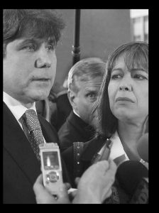 FORMER ILLINOIS Gov. Rod Blagojevich, left, speaks to reporters as his wife, Patti, listens at the federal building in Chicago on Wednesday.