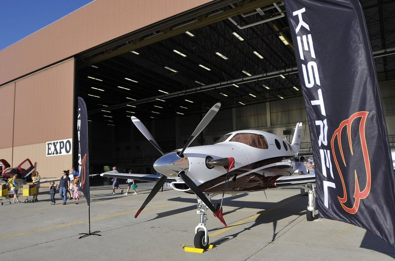 A Kestrel airplane is shown on display at The Great State of Maine Airshow on Aug. 26, 2011. The company announced plans in 2010 to build a manufacturing plant at Brunswick Landing.