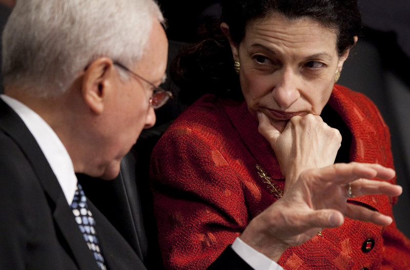 """Sen. Olympia Snowe, seen talking with Sen. Orrin Hatch, R-Utah, in 2009, will be remembered not as a champion of causes, but as """"one of the last moderate Republicans,"""" says one political observer."""