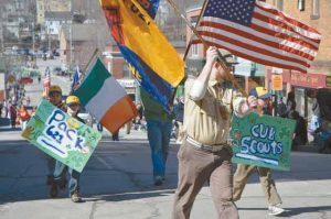 Cub Scouts from Pack 621 march in Saturday's Bath Blarney Days parade. The city celebrated St. Patrick's Day with a parade, tug of war, Irish music, poetry, an Irish soda bread contest and other nods to the Emerald Isle.  (Donald Jamison / The Times Record)