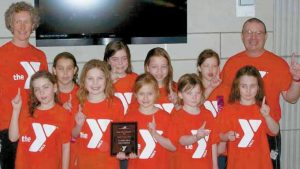THE CASCO BAY YMCA'S 9-10 girls (top photo): front row, Hannah Fishman, Ayanna Hatton, Tholia Hallet, Quinn Chicoine and Clare Lane. Back row, Mae Causey, Allie Perrotta, Gabby Colby-George, Emma McCrea, Natalie Bourassa, Alex Morse and Dan St. Pierre. Missing coach Tom Green, coach Mary Estabrook and Margie McLeod. In the bottom photo, the Casco Bay 8-and-unders: front row, Abby Hill, Sophie Harrington, Cassie Watt, Olivia Marsanskis and Amelia Watt. Back row, coach Mary Estabrook, Allie Perrotta, Margaret McNeil, Zoe Siegle, Elli Sterling and coach Dan St. Pierre. Missing Green.