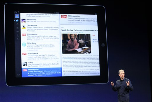 Apple CEO Tim Cook describes features of the new iPad model the company unveiled today in San Francisco.