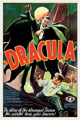 "A poster for the 1931 movie ""Dracula,"" starring Bela Lugosi."
