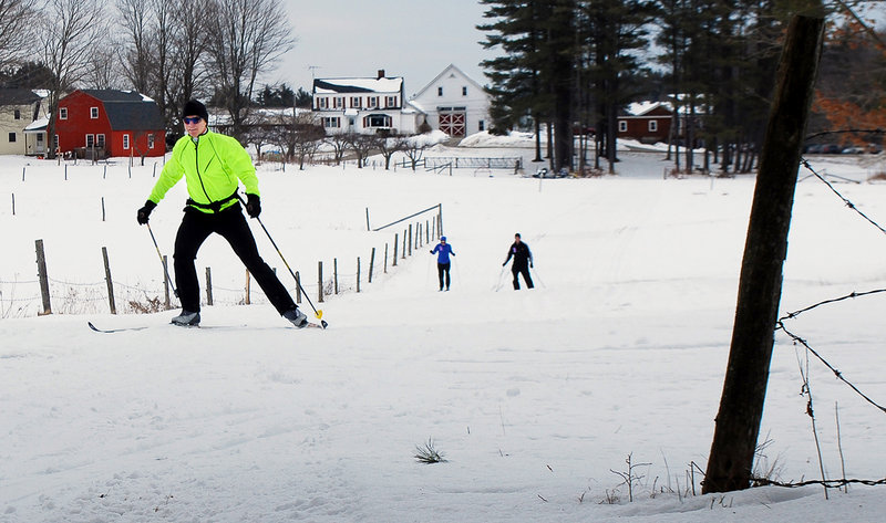 Joe Castorina of Arundel was one of the many skiers who visited Harris Farm in Dayton last weekend after a snowstorm covered the trails for the first time since mid-January. Local cross-country ski centers have had little business this winter because of the lack of snow.