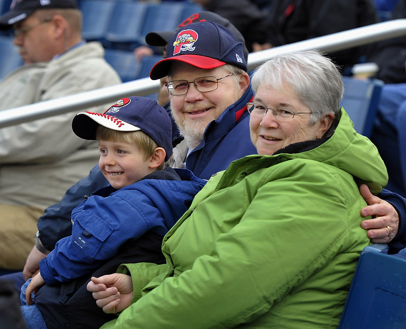 Bill and Liz Burgess of Augusta, pictured here in the Hadlock Field stands on April 12, 2012, have attended 19 Portland Sea Dogs Opening Day games. Their grandson, Devin Tardif, who is 4 years old, has attended five Opening Day games.