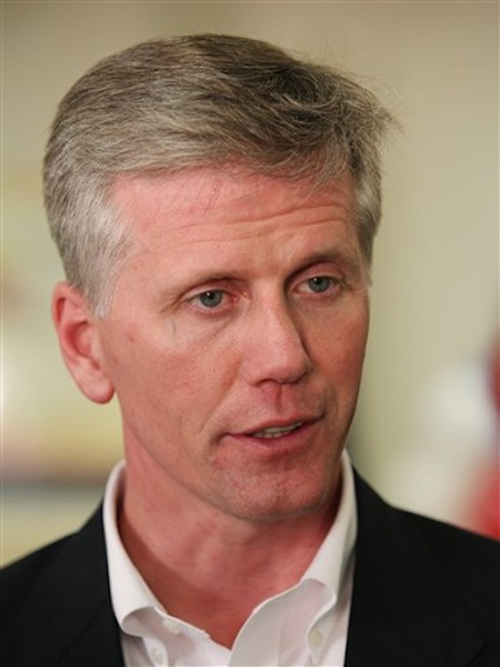 In this June 12, 2012 file photo, Republican senate candidate and Secretary of State Charlie Summers, center, is interviewed in South Portland, Maine. Summers, who won Tuesday's GOP Senate primary, was Sen. Olympia Snowe's state director for nine years. (AP Photo/Joel Page, File)