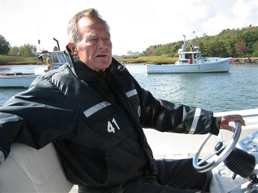 """This undated image released by HBO shows former President George H.W. Bush on his boat in Kennebunkport, Maine during the filming of the documentary """"41,"""" premiering Thursday, June 14, at 9:00 p.m. EST on HBO. The USS George H.W. Bush aircraft carrier is coming to Maine this weekend. (AP Photo/HBO, Jeffrey Roth)"""