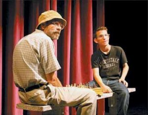 "HERBERT TAYLOR and Ross McEwan rehearse a scene from ""Stars,"" part of Freeport Players' ""Can U Rel8?"" production at Freeport Performing Arts Center. It opens today."