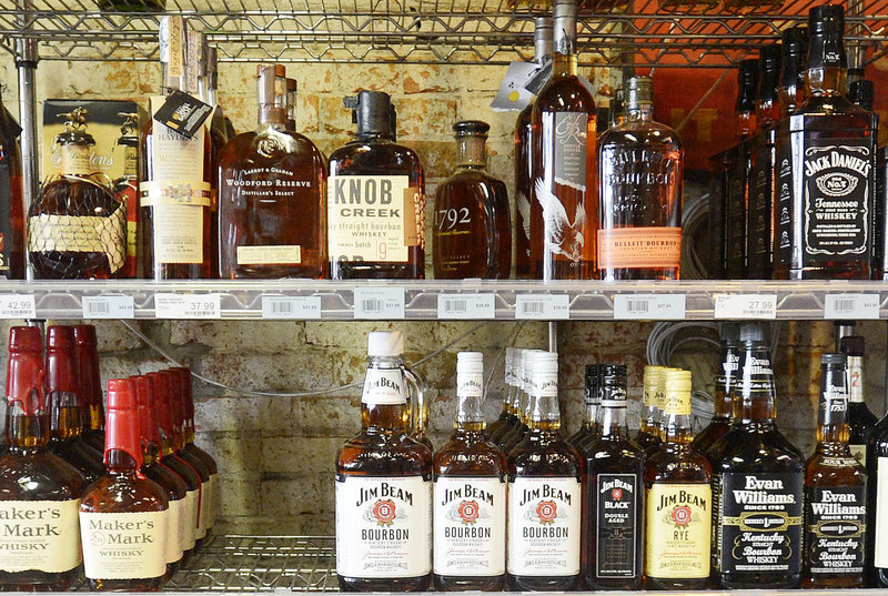 Liquor is on display at Downeast Beverage on Commercial Street in Portland on Thursday.