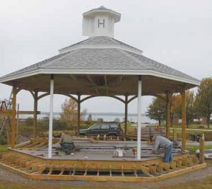 FOUR YEARS OF fundraising and design led to the start of construction on the Harpswell structure this summer.