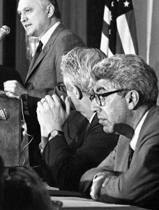 DR. BARRY COMMONER, right, listens to Secretary of the Interior Walter J. Hickel, left, address a meeting of the American Society of Newspaper Editors in San Francisco on May 13, 1970. Commoner, a scientist and activist who raised early concerns about the effects of radioactive fallout and was one of the pioneers of the environmental movement, has died in New York. He was 95.