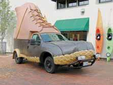 THE L.L. BEAN BOOTMOBILE will lead a quartet of automotive caricatures as they caravan up the highway into Freepor t on Oct. 12. Among the group will be the iconic Oscar Mayer Wienermobile.