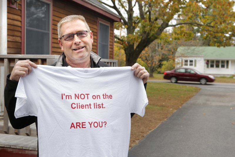 """Mark Nedeau of Kennebunk created this T-shirt to make light of the prostitution scandal that has plagued Kennebunk over recent weeks. """"It's like deer season,"""" he said. """"Get your deer yet?"""""""