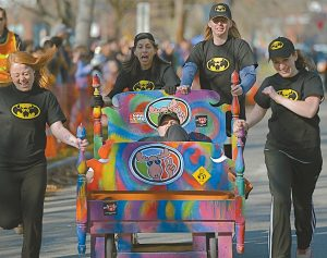 THE SECOND ANNUAL Rolling Slumber Bed Races took place Saturday along Park Row in Brunswick. The event was part of Early Bird Weekend organized by the Brunswick Downtown Association. Following several elimination heats, Cool As A Moose prevailed as the bed race winner, beating the Shift team. Other teams that participated were from Thornton Oaks, Wilbur's of Maine, Brunswick Downtown Association, No. 10 Water restaurant, and Maine State Music Theatre. Members of the Cool As A Moose team included Chelsie Glover of Kennebunk, Caroline Kurrus of Arrowsic, Jada Clement of Portland, Becca Irwin of Bath and Lori May of Freeport. See related photo, page A2.