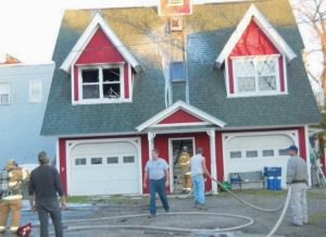 NO ONE WAS HURT when a three-story house at 17 Weymouth St., Richmond, caught fire Friday afternoon, Richmond Fire Chief Matt Roberge said.