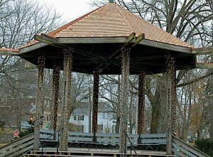 THE NEW RED CEDAR ROOF gleams beneath the Christmas lights on the gazebo in Brunswick. The roof was replaced this fall, swapping white cedar for red cedar, because the red variety holds up better in inclement and cold weather.