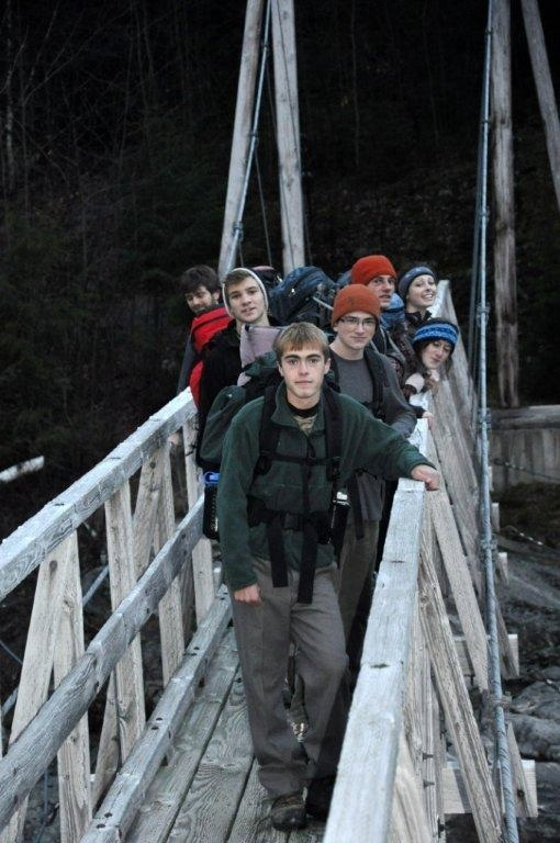 Nate Skvorak, front, was the trip leader for an overnight backpacking trip in the White Mountains.