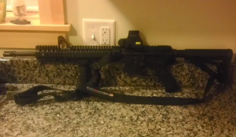 This photo, provided by Justin Dean, shows the AR-15 assault rifle Dean carried around Portland on Christmas Eve, which sparked more than 60 calls to local police.