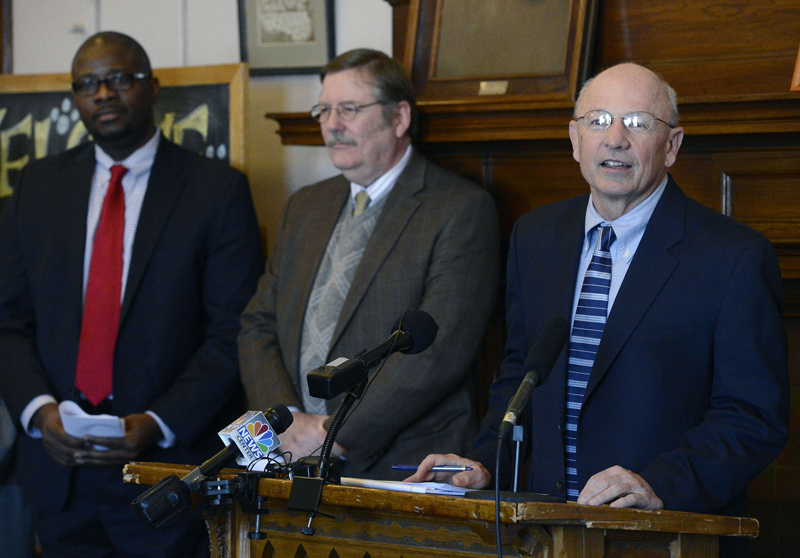 City of Portland Mayor Michael Brennan, right, stands with Portland Regional Chamber Acting CEO Chris Hall, middle, and Portland Public Schools Superintendent Emmanuel Caulk during a press conference where he announced the creation of Portland ConnectED, a community initiative designed to create pathways to success for Portland children Monday, Feb. 25, 2013.