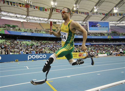 South Africa's Oscar Pistorius competes in a qualification round for the Men's 4x400m relay at the World Athletics Championships in Daegu, South Korea, in this Sept. 1, 2011, photo.