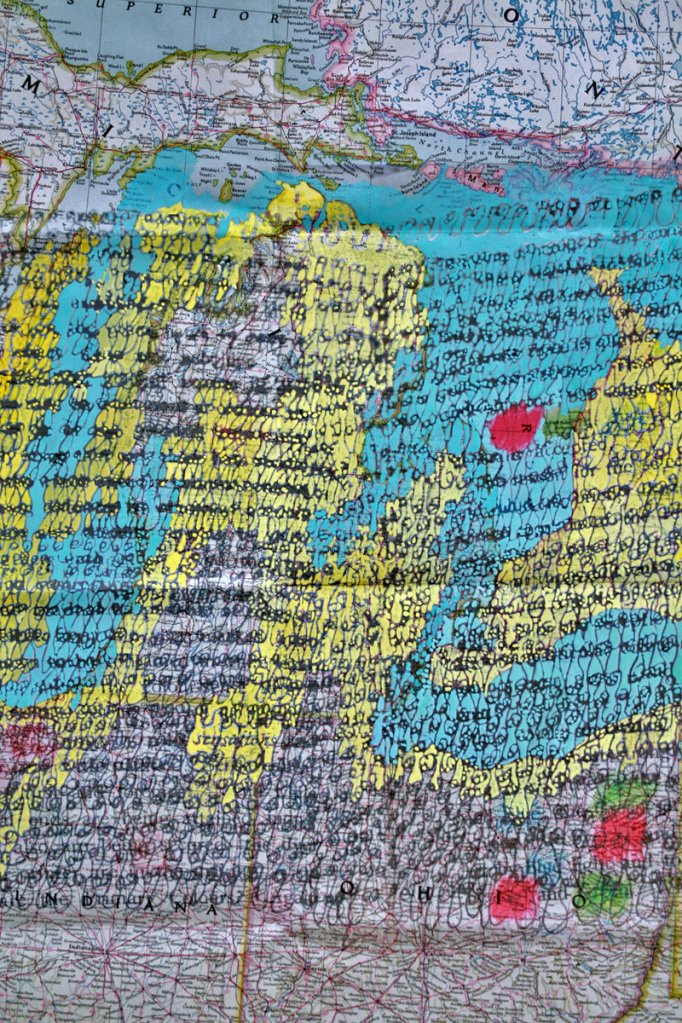 """""""Writing, Page from Atlas With/In,"""" 2011, ink, gouache on paper."""