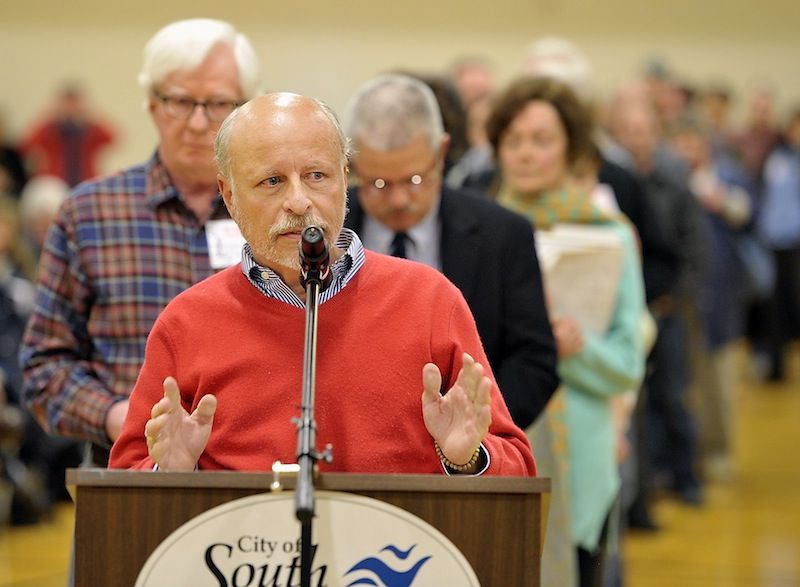 Frederick Lancaster of South Portland was one of many residents Monday at the South Portland Community Center who spoke against a tar-sands oil pipeline.