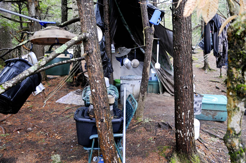 Christopher Knight's camp Tuesday in a remote, wooded section of Rome.