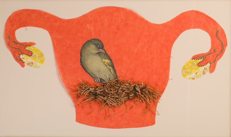 """Kimberly Crichton's """"Birthing,"""" 2009, paper and embroidery thread."""